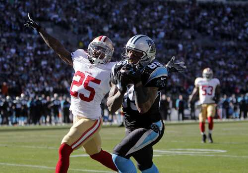 49ers' Tarrell Brown, (25) gets beat by the Panthers' Steve Smith, (89) for a first half touchdown as the San Francisco 49ers went on to beat the Carolina Panthers 23-10 in the NFC divisional playoffs in Charlotte, North Carolina on Sunday Jan. 12, 2014, at Bank of America stadium. Photo: Michael Macor, The Chronicle