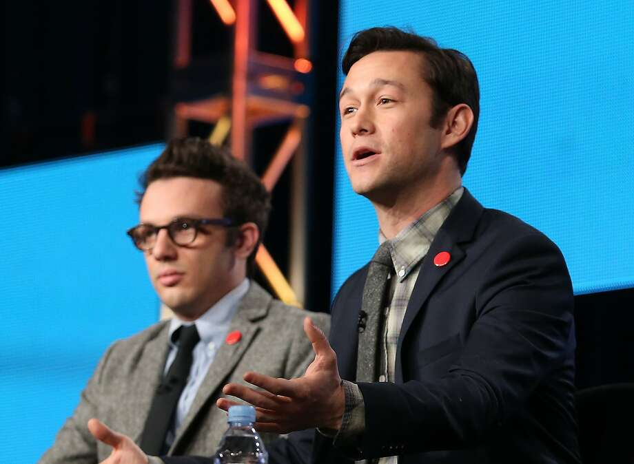 "Creator/director/host Joseph Gordon-Levitt (right) and executive producer Jared Geller discuss ""HITRECORDonTV."" Photo: Frederick M. Brown, Getty Images"