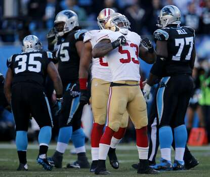 NaVorro Bowman (53) celebrated his sack in the second half Sunday January 12, 2014. The San Francisco 49ers beat the Carolina Panthers 23-10 in Charlotte, North Carolina to advance to the NFC title game against Seattle. Photo: Brant Ward, The Chronicle
