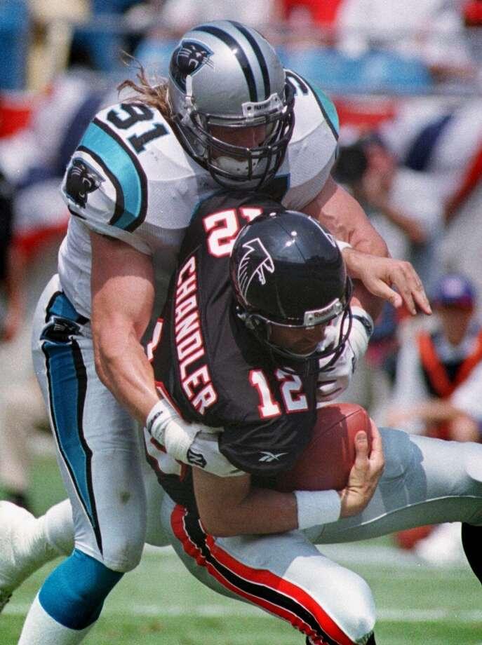 Kevin GreeneLinebacker/defensive end; Los Angeles Rams (1985-1992), Pittsburgh Steelers (1993-1995), Carolina Panthers (1996, 1998-1999), San Francisco 49ers (1997) Photo: Chuck Burton, Associated Press