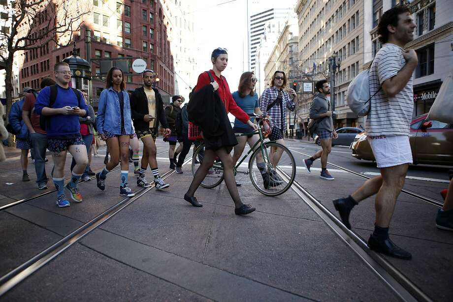 Participants in the annual No-Pants Subway Ride gather cross Market St. on their way to Yerba Buena Gardens in San Francisco, CA, Sunday, January 12, 2014. Photo: Michael Short, The Chronicle