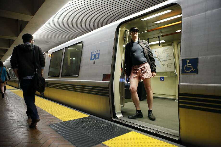 A participant named John looks out from a BART train at the Montgomery Station during the annual No-Pants Subway Ride in San Francisco, CA, Sunday, January 12, 2014. Photo: Michael Short, The Chronicle