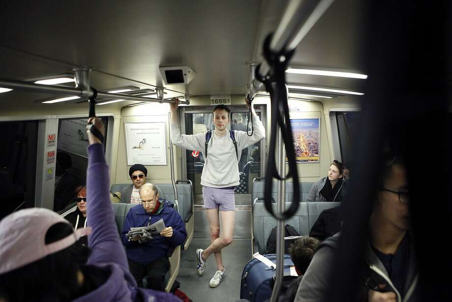 Gabriel Stern of San Francisco rides on a BART train while participating in the annual No-Pants Subway Ride in San Francisco, CA, Sunday, January 12, 2014. Photo: Michael Short, The Chronicle