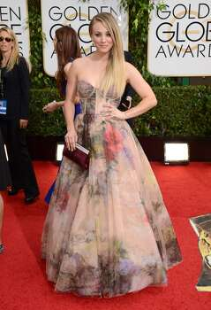 Kaley Cuoco arrives at the 71st annual Golden Globe Awards at the Beverly Hilton Hotel on Sunday, Jan. 12, 2014, in Beverly Hills, Calif. Photo: Jordan Strauss, Associated Press