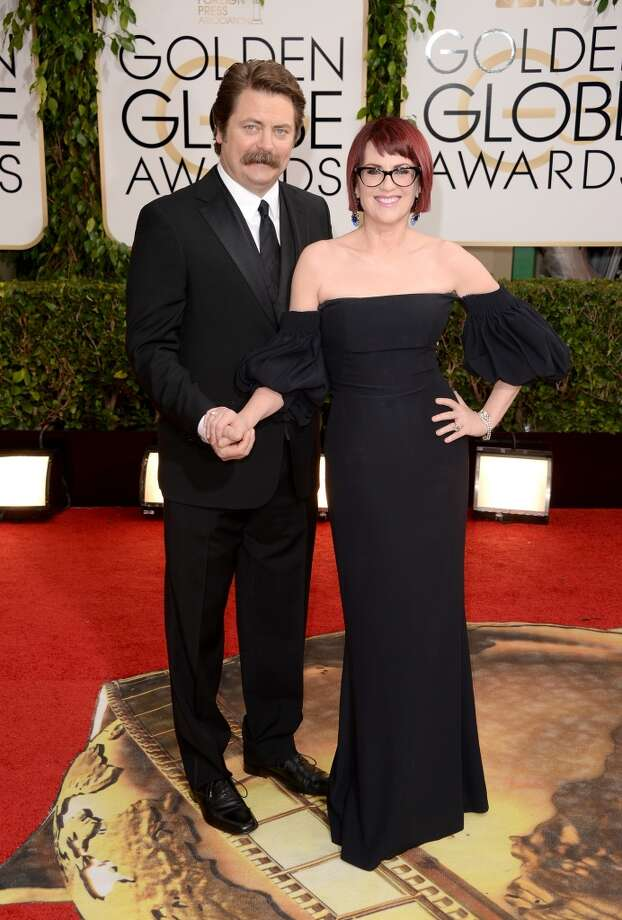 Actors Nick Offerman and Megan Mullally attend the 71st Annual Golden Globe Awards held at The Beverly Hilton Hotel on January 12, 2014 in Beverly Hills, California. Photo: Jason Merritt, Getty Images
