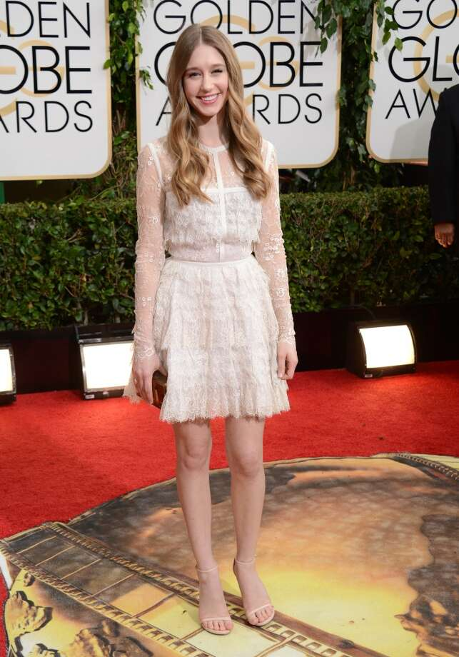 Taissa Farmiga arrives at the 71st annual Golden Globe Awards at the Beverly Hilton Hotel on Sunday, Jan. 12, 2014, in Beverly Hills, Calif. Photo: Jordan Strauss, Associated Press