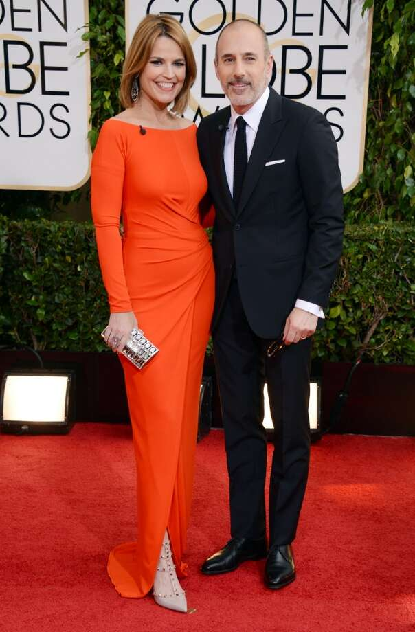 Savannah Guthrie, left, and Matt Lauer arrive at the 71st annual Golden Globe Awards at the Beverly Hilton Hotel on Sunday, Jan. 12, 2014, in Beverly Hills, Calif. Photo: Jordan Strauss, Associated Press