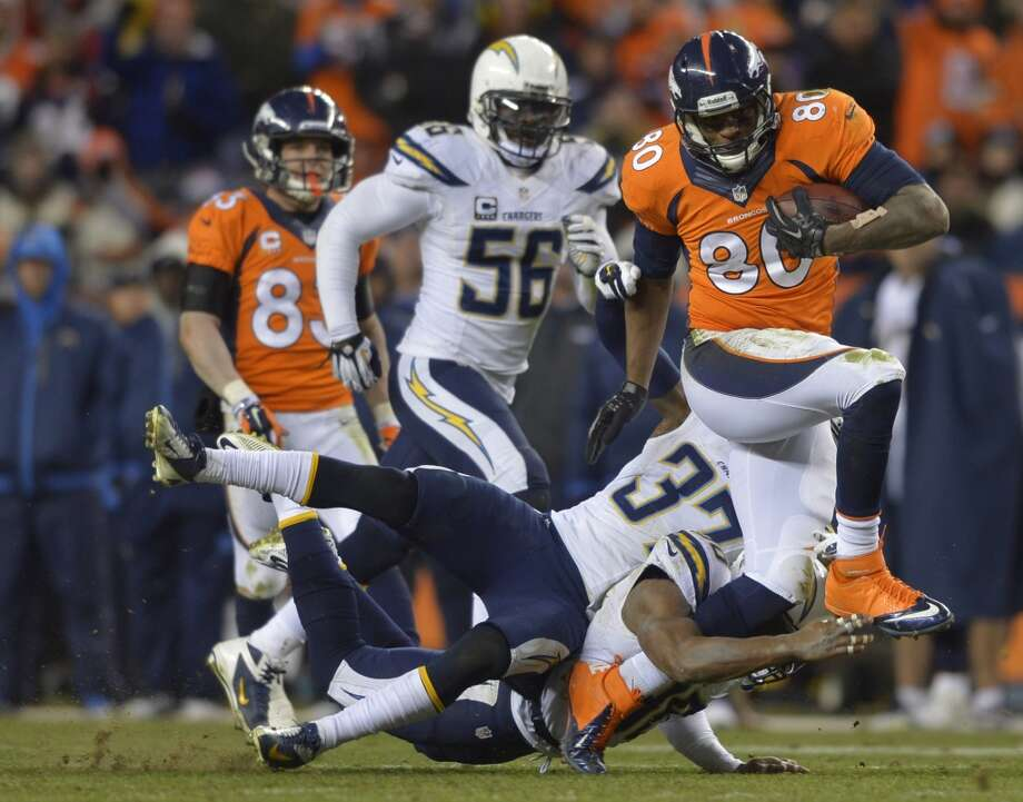 Broncos tight end Julius Thomas (80) is tackled by Chargers strong safety Marcus Gilchrist (38) and Jahleel Addae (37). Photo: Jack Dempsey, Associated Press