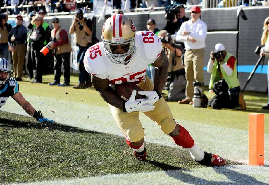 Division Round Jan. 12: 49ers 23, Panthers 10  Vernon Davis #85 of the 49ers catches a touchdown. Photo: Grant Halverson, Getty Images