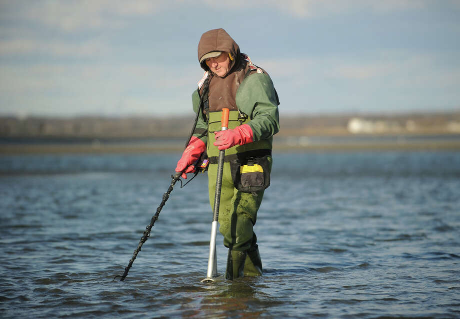 Robert Severini, of Westport, wears neoprene waders to keep warm as he searches with his metal detector off Short Beach in Stratford, Conn on Sunday, January 12, 2014. Photo: Brian A. Pounds / Connecticut Post