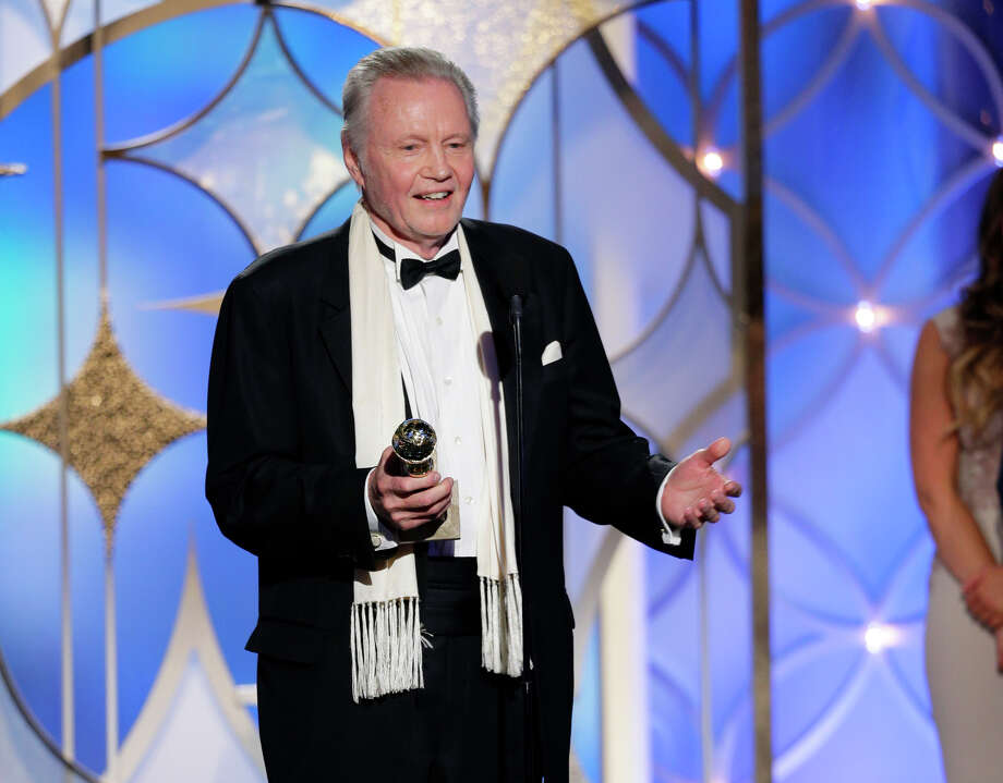 "This image released by NBC shows  Jon Voight accepting the award for best supporting actor in a series, mini-series or TV movie for his role in ""Ray Donovan"" during the 71st annual Golden Globe Awards at the Beverly Hilton Hotel on Sunday, Jan. 12, 2014, in Beverly Hills, Calif. Photo: Paul Drinkwater, AP / NBC"