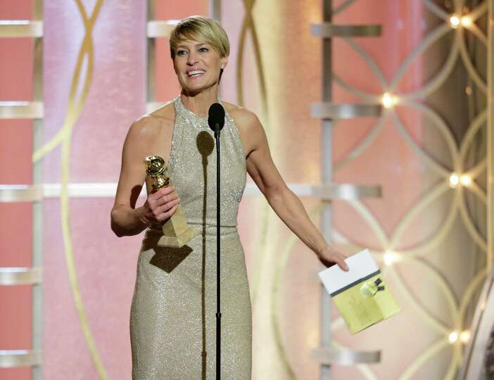 This image released by NBC shows Robin Wright accepting the award for best actress in a drama TV ser