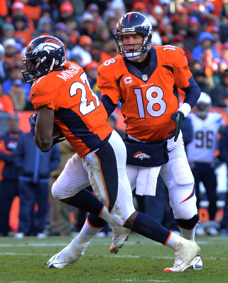 Denver Broncos quarterback Peyton Manning hand the ball off to running back Knowshon Moreno (27) in the second quarter of an NFL AFC division playoff football game, Sunday, Jan. 12, 2014, in Denver. (AP Photo/Jack Dempsey)  ORG XMIT: NYDP123 Photo: Jack Dempsey / FR42408 AP