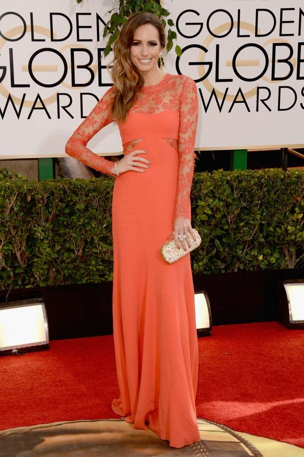 TV Personality Louise Roe (fashion detail)  attends the 71st Annual Golden Globe Awards held at The Beverly Hilton Hotel on January 12, 2014 in Beverly Hills, California. Photo: Jason Merritt, Getty Images