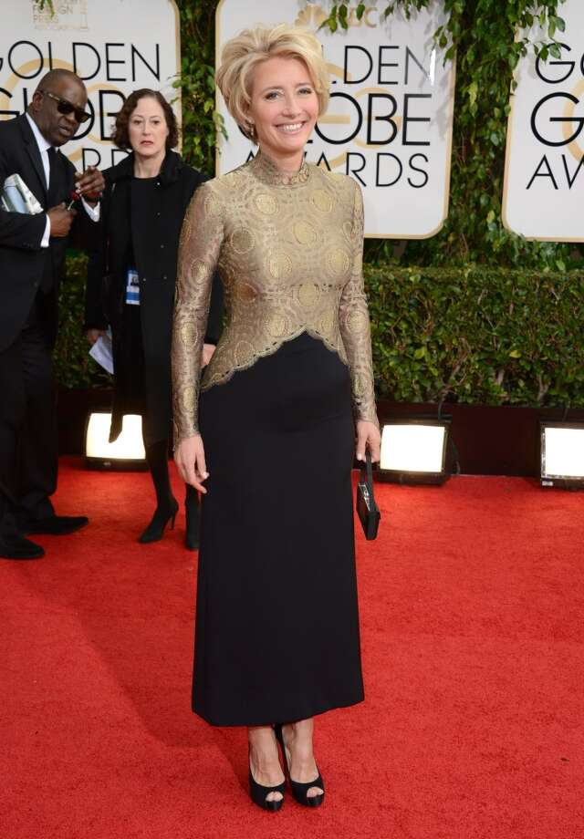 Emma Thompson arrives at the 71st annual Golden Globe Awards at the Beverly Hilton Hotel on Sunday, Jan. 12, 2014, in Beverly Hills, Calif. Photo: Jordan Strauss, Associated Press