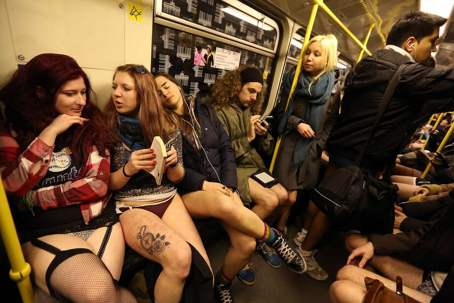 Trouserless transit: Germans protesting the tyranny of pants ride a train in Berlin during the No Pants Subway Ride, an annual event that began in New York City and is now observed around the world. Photo: Adam Berry, Getty Images