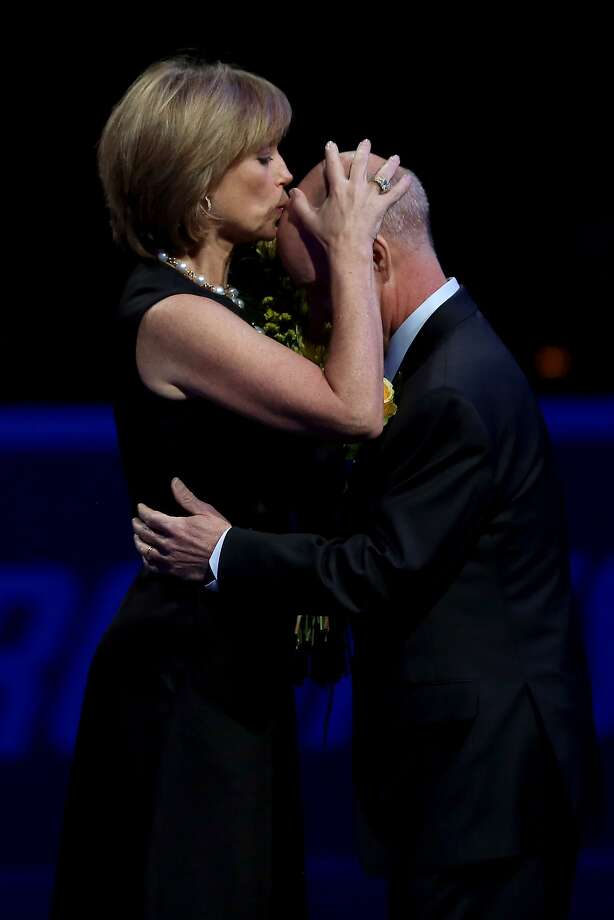 BOSTON, MA - JANUARY 12:  Dorothy Hamill kisses the head of Scott Hamilton during the Smucker's Skating Spectacular following the Prudential U.S. Figure Skating Championships at TD Garden on January 12, 2014 in Boston, Massachusetts.  (Photo by Matthew Stockman/Getty Images) Photo: Matthew Stockman, Getty Images