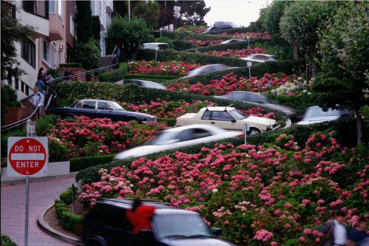 Cars wind down Lombard Street, in San Francisco.