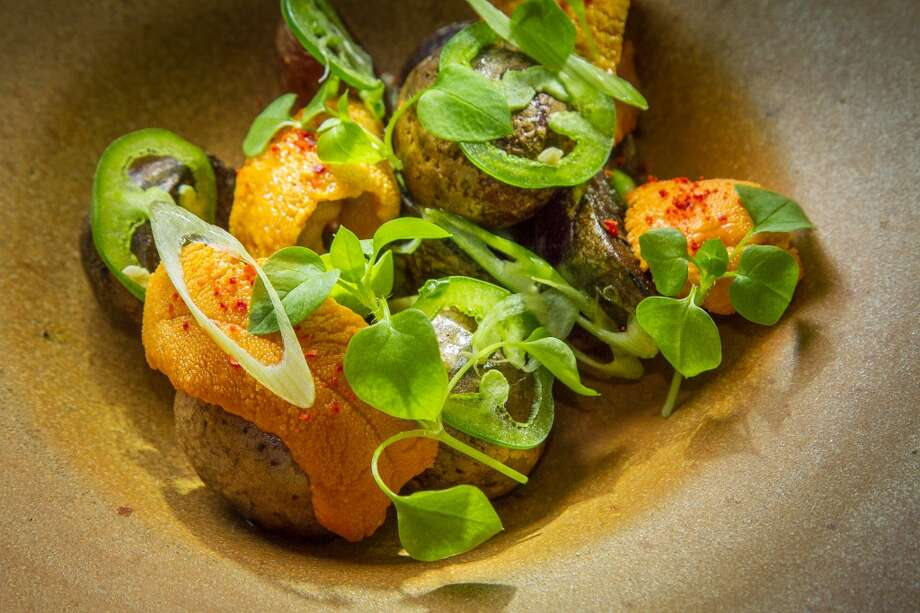 Uni with dry-farmed Potato, Jalapeño and Scallion at TBD. Photo: John Storey, Special To The Chronicle