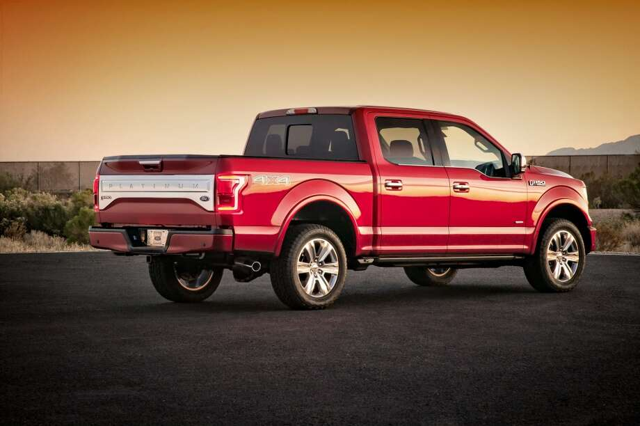 Ford shows the company's new 2015 F-150 pickup truck. On Monday, Jan. 13, 2014, Ford unveils a new F-150 built almost entirely out of aluminum. The lighter material, which shaves as much as 700 pounds off the truck, will save fuel and make the truck more nimble without sacrificing power, Ford says. Photo: Ford, AP