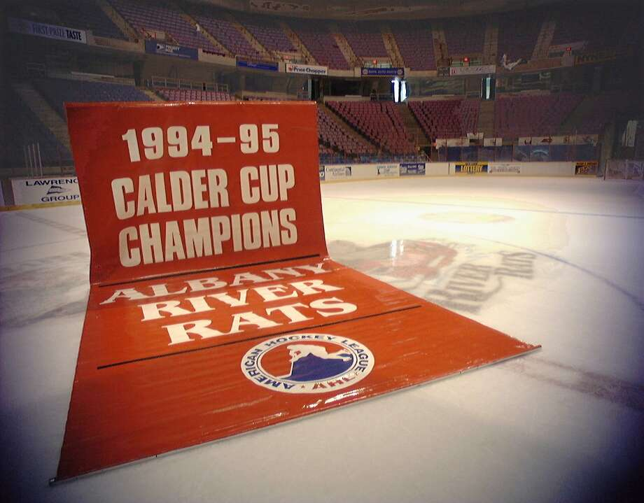 For in-depth local hockey coverage, visit Hockey Spoken Here.The Calder Cup Banner, which was hoisted to the rafters of the Knickerbocker Arena (now Times Union Center) to commemorate the Albany River Rats first Calder Cup Championship in 1995. Photo: LUANNE M. FERRIS, DG / ALBANY TIMES UNION