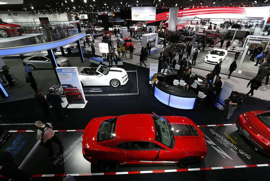 Chevrolet vehicles are shown at media previews at the North American International Auto Show. Photo: Paul Sancya, Associated Press