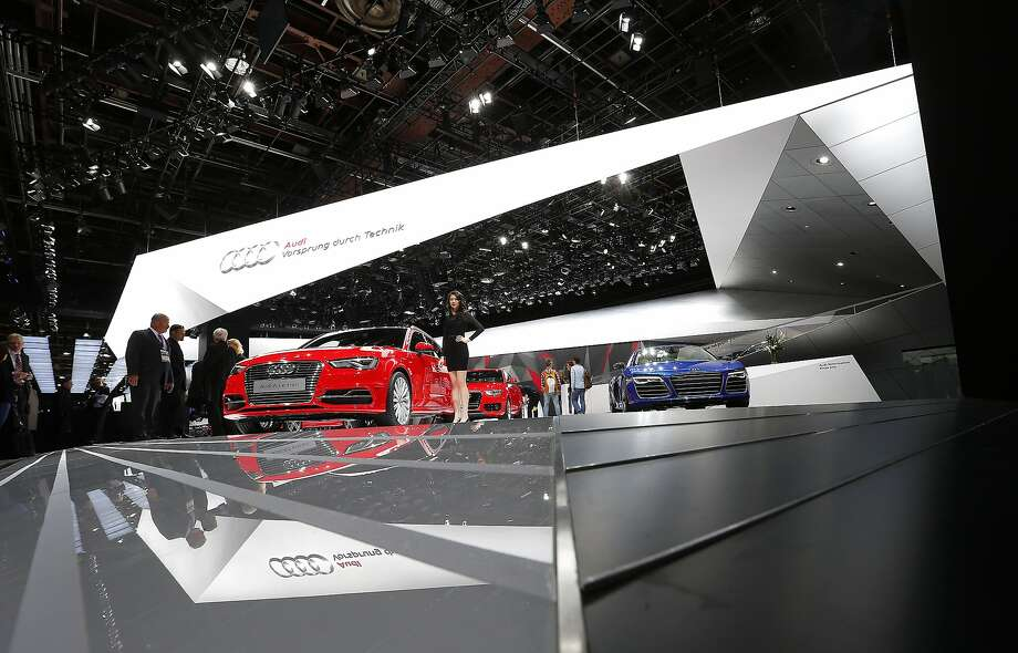 The Audi exhibit is shown at media previews at the North American International Auto Show. Photo: Paul Sancya, Associated Press