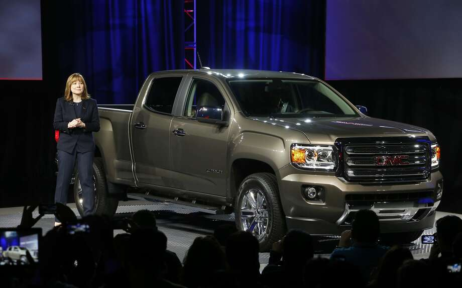 Incoming General Motors CEO Mary Barra introduces the 2015 GMC Canyon. Photo: Paul Sancya, Associated Press
