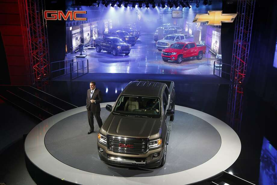 Incoming General Motors head of global product development Mark Reuss talks about the 2015 GMC Canyon. Photo: Paul Sancya, Associated Press