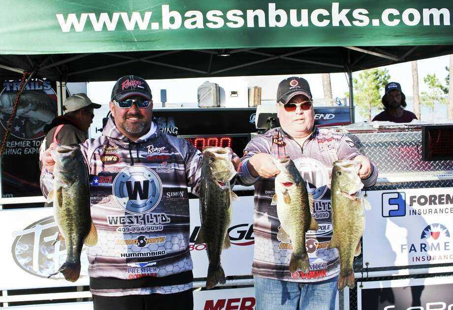 The winning team of  Corey Rambo and Rusty Clark took home $2,830 for their 23.95-pound weigh-in and 6.37-pound big bass. Photo by Alison Hart.