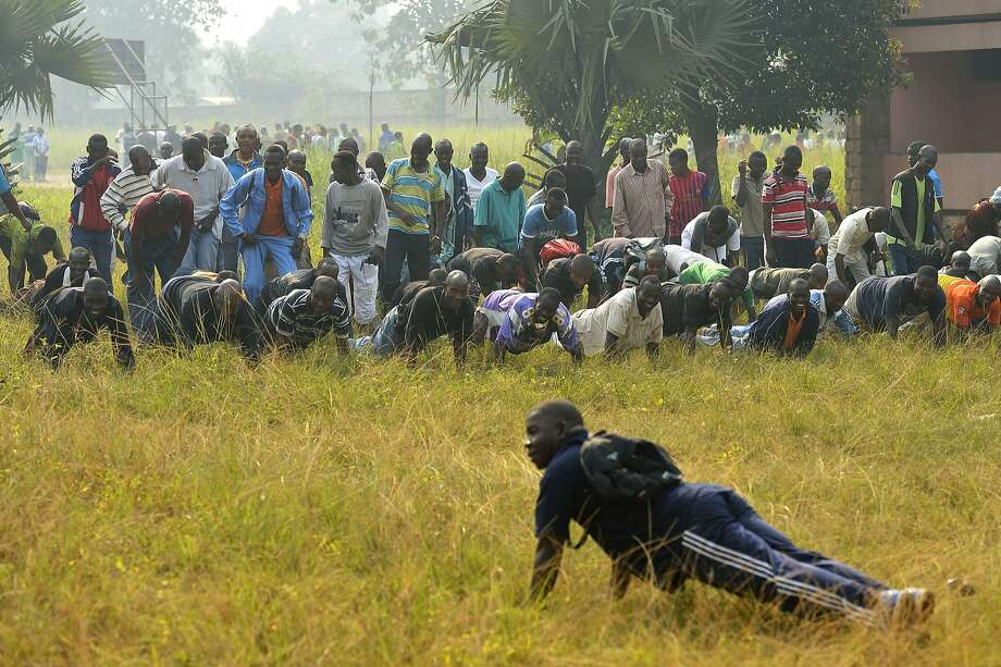 Go AWOL again, and mark my words, there will be more push-ups! PLUS abdominal crunches! Central African army 