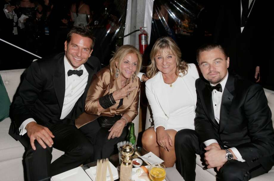 (L-R) Actor Bradley Cooper, mother Gloria Campano, (R) Actor Leonardo DiCaprio, and (2nd-R) mother Irmelin Indenbirken attend The Weinstein Company & Netflix's 2014 Golden Globes After Party presented by Bombardier, FIJI Water, Lexus, Laura Mercier, Marie Claire and Yucaipa Films at The Beverly Hilton Hotel on January 12, 2014 in Beverly Hills, California. Photo: Jeff Vespa, Getty Images For The Weinstein C