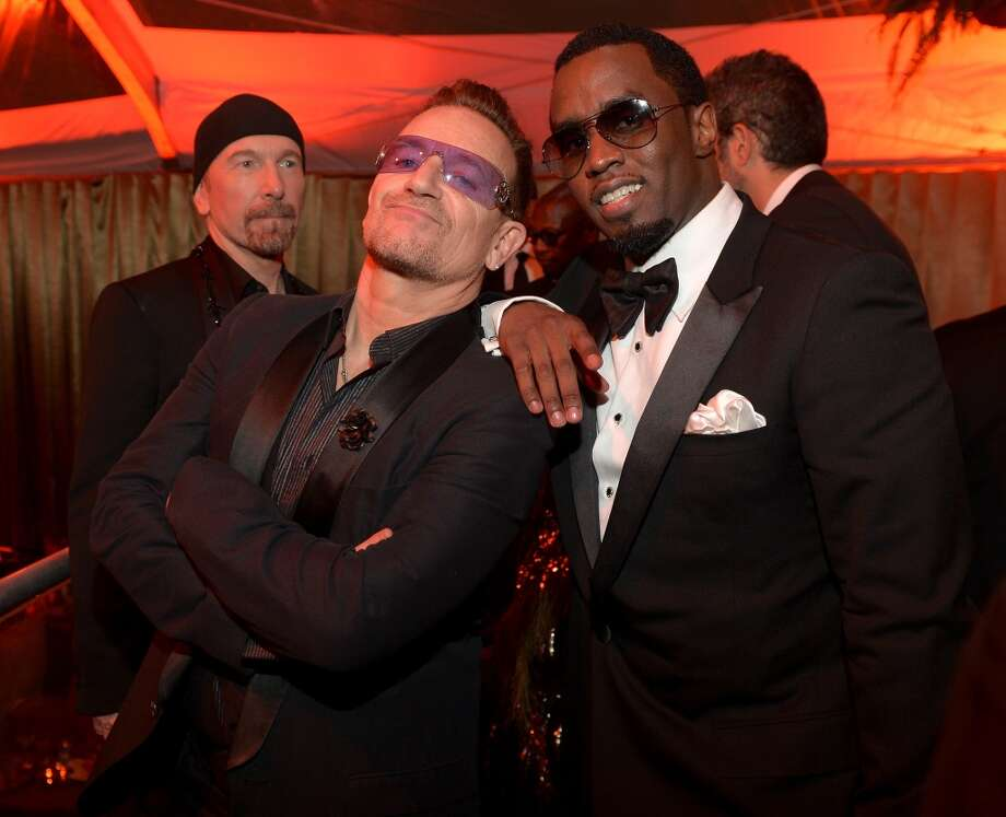 Bono and Sean Combs attend The Weinstein Company & Netflix's 2014 Golden Globes After Party presented by Bombardier, FIJI Water, Lexus, Laura Mercier, Marie Claire and Yucaipa Films at The Beverly Hilton Hotel on January 12, 2014 in Beverly Hills, California. Photo: Charley Gallay, (Credit Too Long, See Caption)