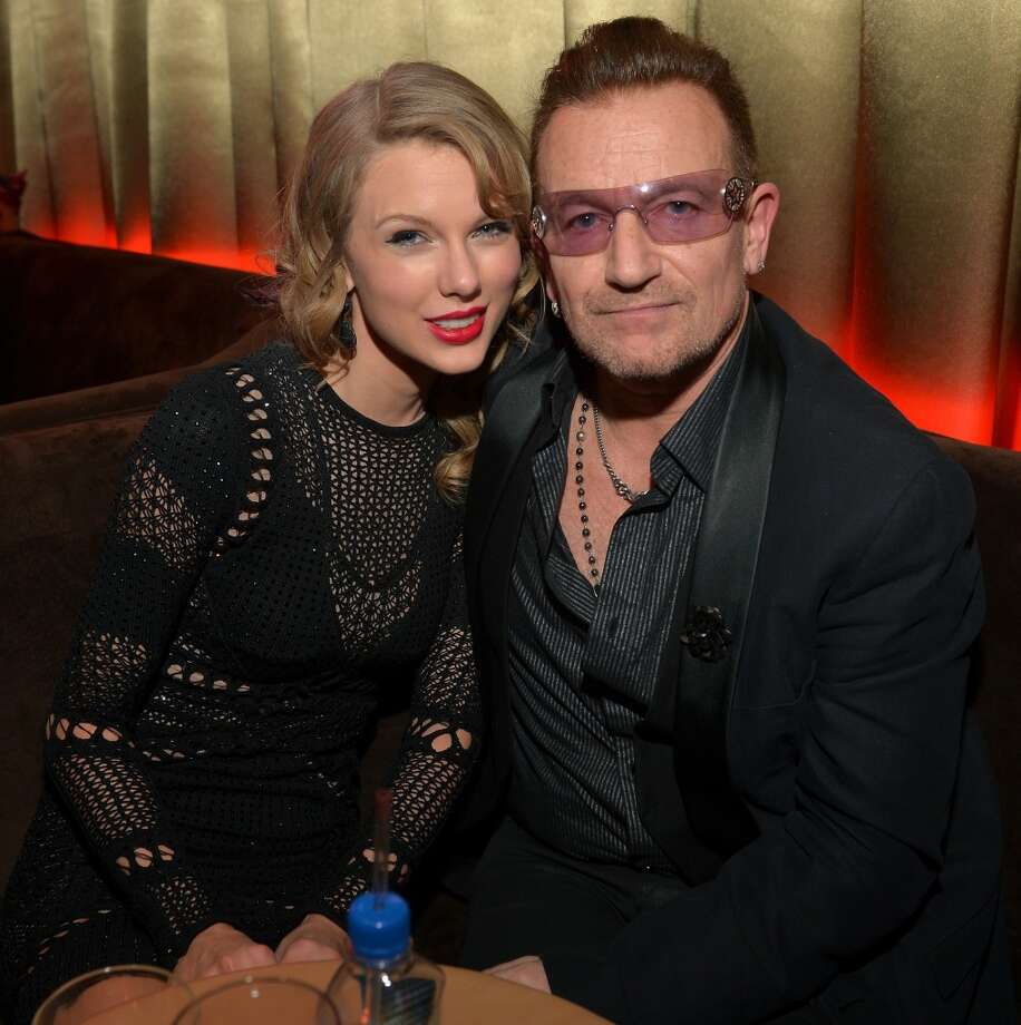 Singer Taylor Swift (L) and musician Bono attend The Weinstein Company & Netflix's 2014 Golden Globes After Party presented by Bombardier, FIJI Water, Lexus, Laura Mercier, Marie Claire and Yucaipa Films at The Beverly Hilton Hotel on January 12, 2014 in Beverly Hills, California. Photo: Charley Gallay, Getty Images For The Weinstein Company)