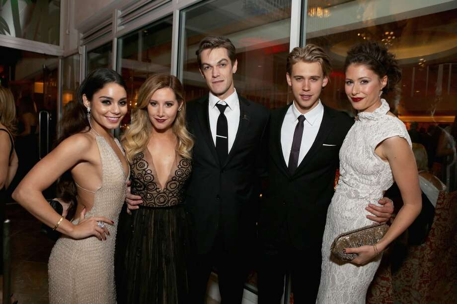 (L-R) Vanessa Hudgens, Ashley Tisdale, Chris French and Austin Butler attend HBO's Post 2014 Golden Globe Awards Party held at Circa 55 Restaurant on January 12, 2014 in Los Angeles, California. Photo: Mike Windle, Getty Images