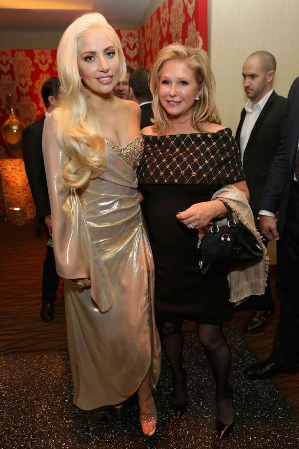 Lady Gaga (L) and Kathy Hilton attend HBO's Post 2014 Golden Globe Awards Party held at Circa 55 Restaurant on January 12, 2014 in Los Angeles, California. Photo: Mike Windle, Getty Images