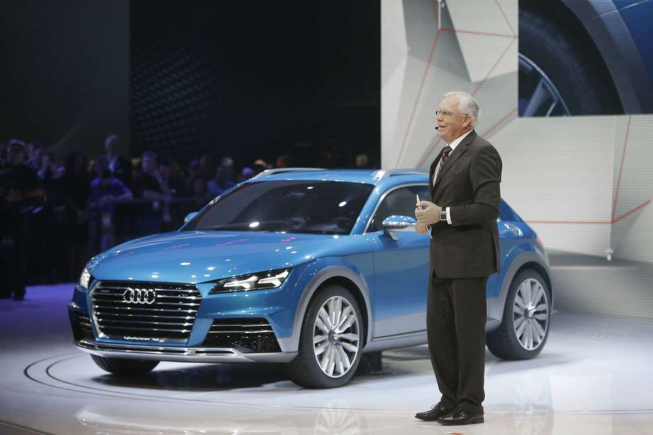 Audi Chief Technical Officer Ulrich Hackenberg stands next to the Audi allroad shooting brake. Photo: Carlos Osorio, Associated Press