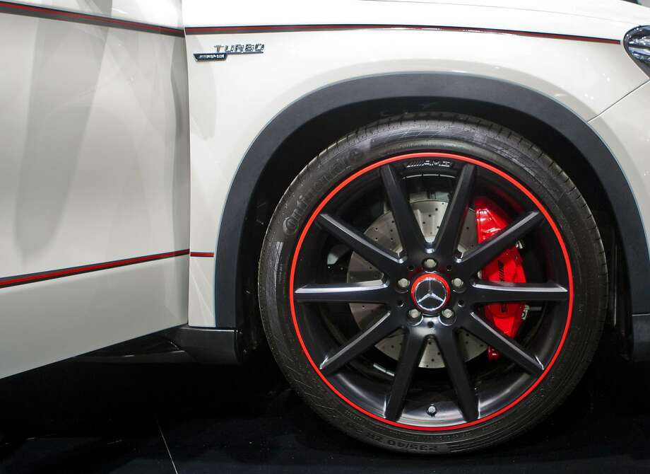 The passenger front wheel of the new Mercedes GLA 45 AMG compact SUV. Photo: Tony Ding, Associated Press
