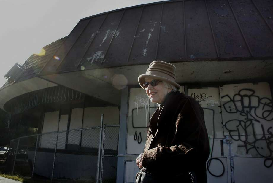 Joyce Roy, a retired architect, at the now boarded-up and graffiti-covered diner Biff's, above, remembers when the diner with a spaceship design, left, gleamed and drew people from all over Oakland. Photo: Lacy Atkins, The Chronicle