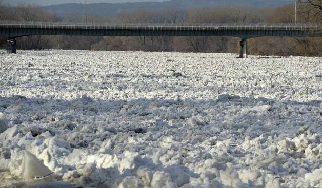 Ice packs up but is moving on the Mohawk River Monday morning near the Stockade area, Jan. 13, 2014, in Schenectady, N.Y. (Skip Dickstein / Times Union) Photo: Skip Dickstein / 00025344A