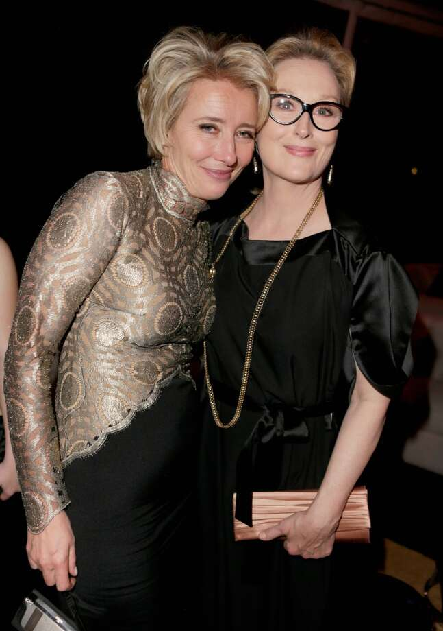 Actresses Emma Thompson and Meryl Streep attend The Weinstein Company & Netflix's 2014 Golden Globes After Party presented by Bombardier, FIJI Water, Lexus, Laura Mercier, Marie Claire and Yucaipa Films at The Beverly Hilton Hotel on January 12, 2014 in Beverly Hills, California. Photo: Jeff Vespa, Getty Images For The Weinstein C