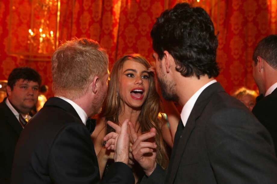 Actors Jesse Tyler Ferguson, Sofia Vergara and guest, Nicolas Loeb attend HBO's Post 2014 Golden Globe Awards Party at Circa 55 Restaurant on January 12, 2014 in Los Angeles, California. Photo: Mike Windle, Getty Images