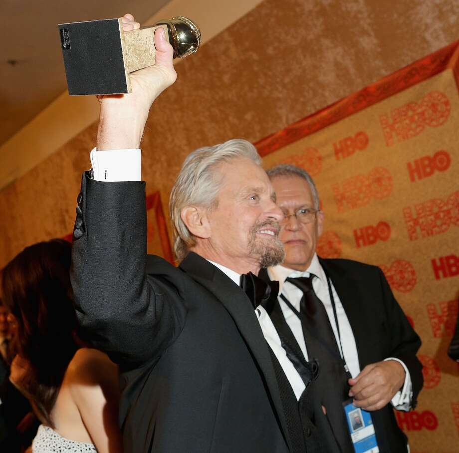 Actor Michael Douglas, winner of Best Actor in a Miniseries or Television Film for 'Behind the Candelabra' attends HBO's Post 2014 Golden Globe Awards Party held at Circa 55 Restaurant on January 12, 2014 in Los Angeles, California. Photo: Mike Windle, Getty Images