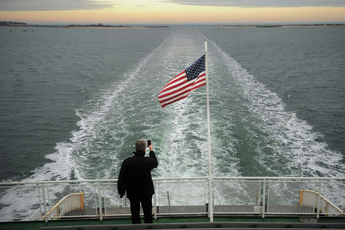 The view from the back of the Bridgeport/Port Jefferson ferry on Tuesday, January 15, 2013.