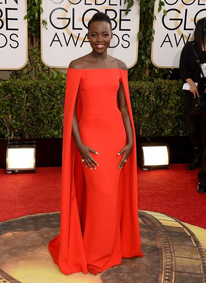 Red. Lupita Nyong'o (nominated for her role in 12 Years a Slave) in Ralph Lauren. Photo: Jason Merritt, Getty Images