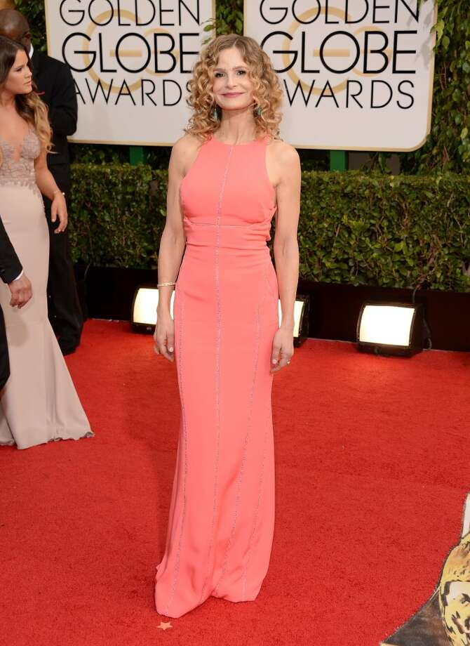 Red. Kyra Sedgwick in J Mendel. Photo: Jason Merritt, Getty Images