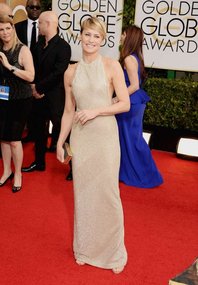 White. Robin Wright (who won for her role in House of Cards) in Reem Acra. Photo: Jason Merritt, Getty Images