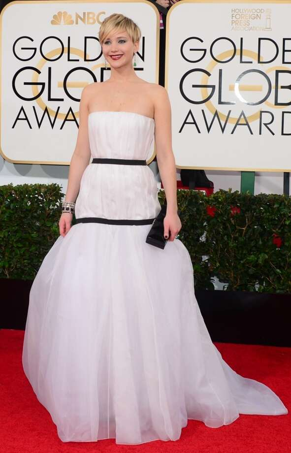 White. Jennifer Lawrence (who won for her role in American Hustle) in Christian Dior. Photo: FREDERIC J. BROWN, AFP/Getty Images