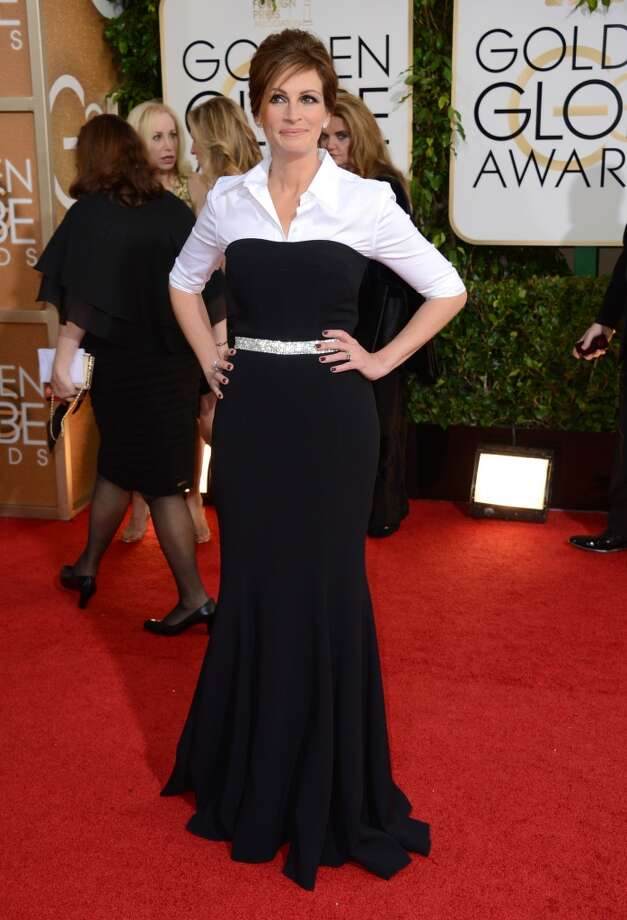 Black (and white). Julia Roberts (nominated for her role in August: Osage County) in Dolce & Gabbana Photo: Jordan Strauss, Associated Press