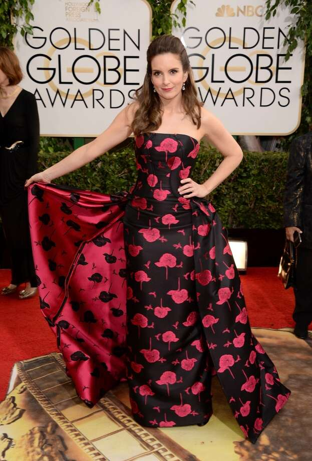 Color blocking (and other creative coloring). Tina Fey on the red carpet in a printed Carolina Herrera Photo: Jason Merritt, Getty Images
